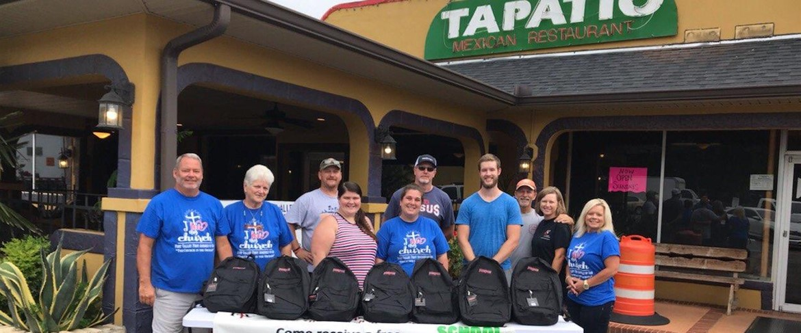 Book bag giveaway sponsored by Fort Valley First Assembly of God at El Tapatio